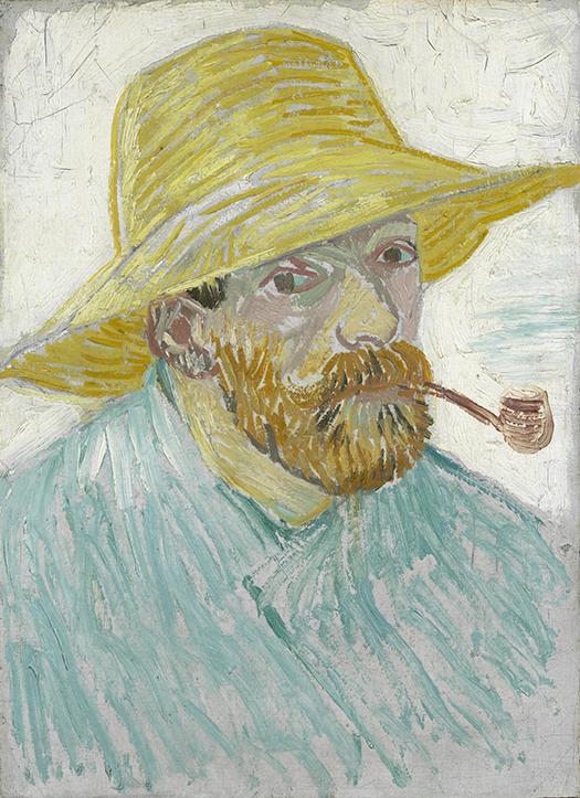 Autoportret wsłomkowym kapeluszu zfajką
